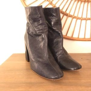 Navy Blue Zara Leather Boots